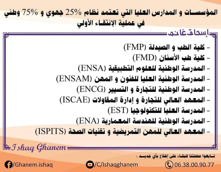 قائمة المؤسسات و المعاهد التي تعتمد نظام 25% جهوي و 75% وطني لاصحاب الباك 2019